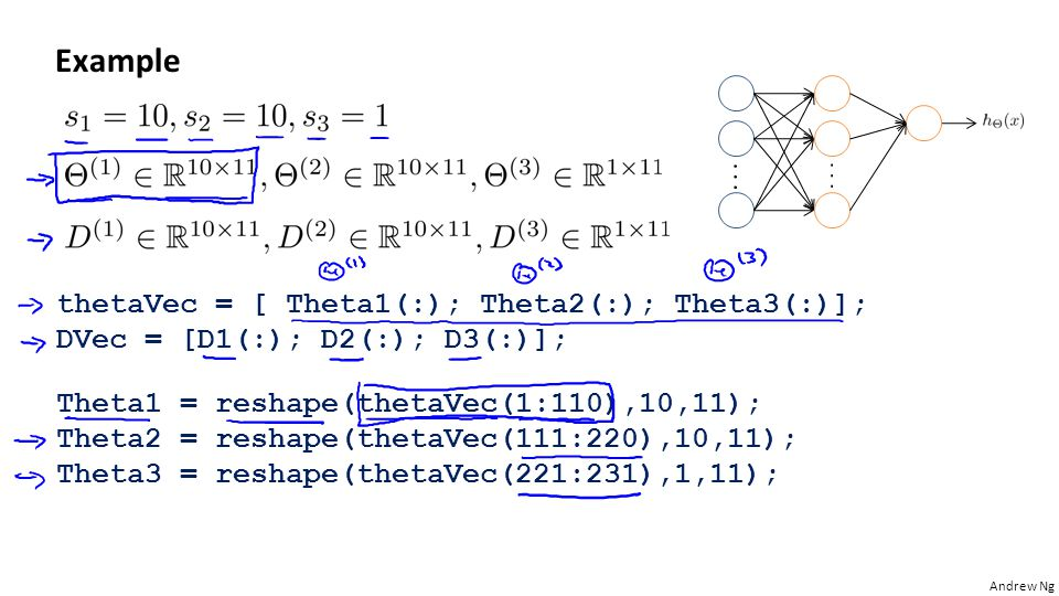Example thetaVec = [ Theta1(:); Theta2(:); Theta3(:)];